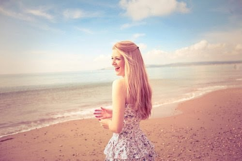 beach, blonde, blue sky, girl, hair