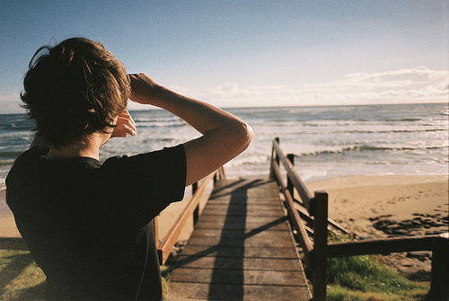 beach, boy, cute, film, film grain