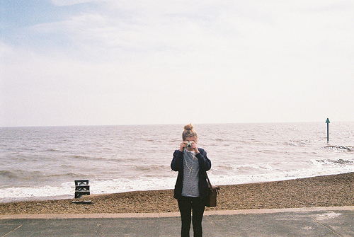 beach, bun, camera, fashion, girl