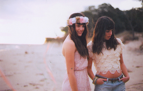 beach, fashion, flower, girl, long hair, pretty, summer, vintage
