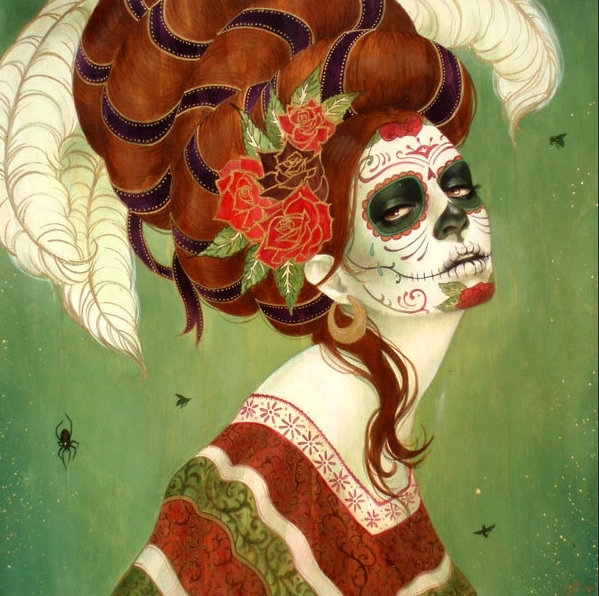 beautiful, caveira mexicana, cool, girl hair, la muerte, morte, skull