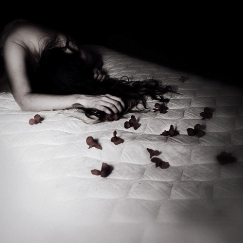 bed, girl, night, petals, romance
