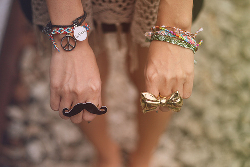 believe, bow, bracelets, cute, fashion, girl, jewellery, moustache, peace, ring, rings, separate with comma