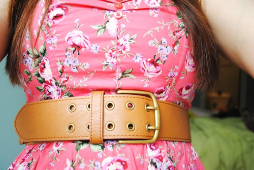 belt, cute, dress, fashion, floral, girly, outfit, pink, pretty, roses, vintage