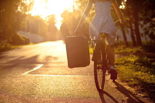 bicycle, delicate, dress, fashion, floral, girl, photography, pretty, suitcase, summer, sun, sunlight, sunshine, travel, trees, vintage, woman