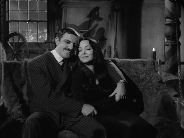 black and white, couple, gomez addams, love, morticia addams