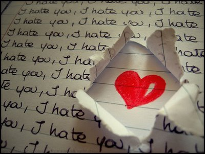 black, boring pic, hate, heart, i hate you, love, paper, pink, red, text, white