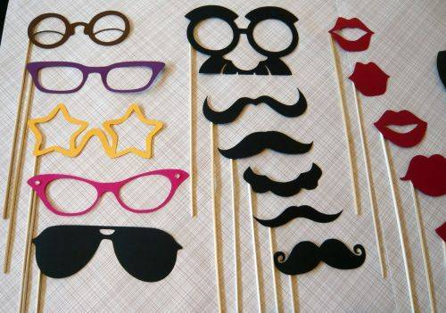 black, cute, glasses, ink, lips, moustache, party, purple, red, yellow
