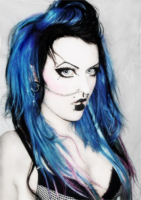 black fringe, black lipstick, blue, blue eyes, blue hair, bra, cyber, eyebrows, goth, gothic, pale, piercings, white skin