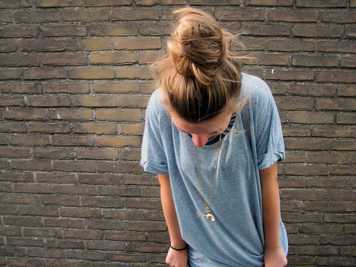 blonde, blonde hair, fashion, girl, hair, style, t-shirt, thoughts, wall