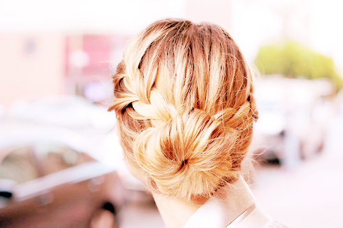 blonde, braid, braided, bun, cute