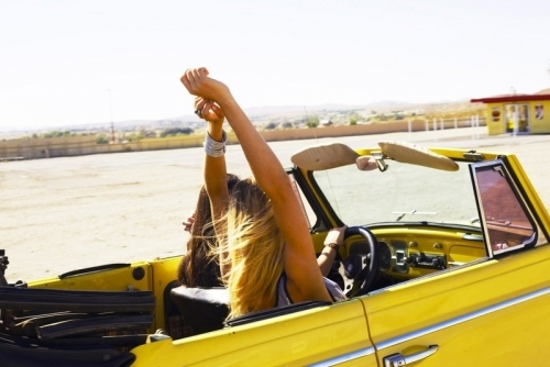 blonde, brunette, car, free, friends, friendship, girls, hair, voyage, yellow car, you and me