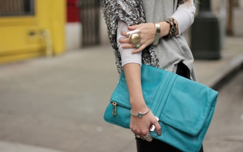 blue, bracelets, clutch, fashion, girl, jewelry, rings