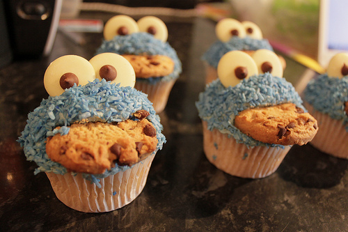 blue, cookie monster, cookies, cupcake, cupcakes