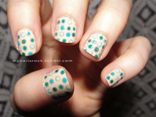 blue, cute, dots, glitter, green, nail art, nails, pattern, polka dots