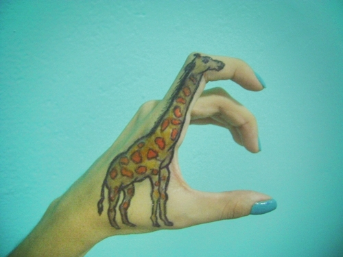 blue, giraffe, hand, nails, polish
