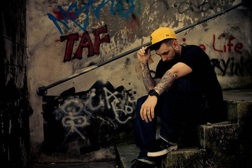 boy, gauges, graffiti, hat, hot