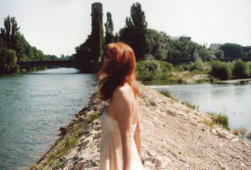 bridge, ginger hair, girl, photography, river, vintage, water