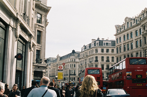 buildings, bus, busy, double decker, london, photography, street, vintage