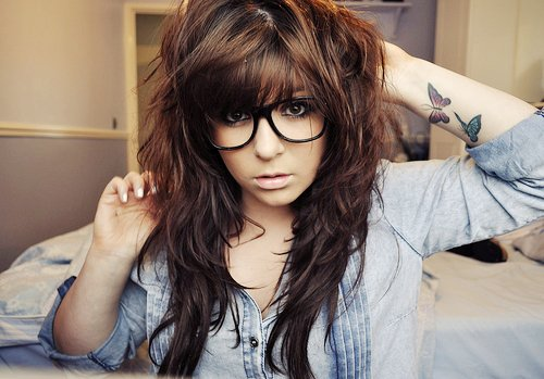 butterflies, cute, eyes, girl, glasses, hair, lips, nails, pretty