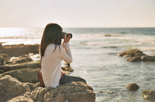 camera, girl, separate with comma, water, white