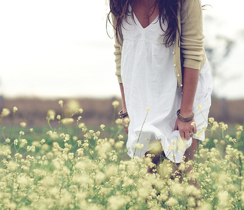 cardigan, delicate, dress, fashion, field, flowers, girl, lovely, medow, pretty, spring, summer, sweet