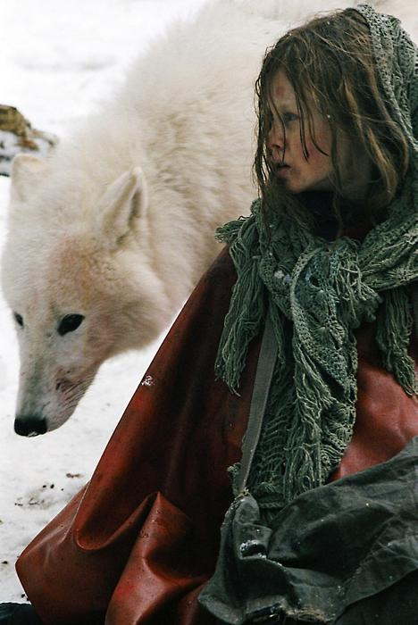 cold, girl, green, red, snow, white, winter, wolf