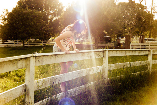 country, fence, girl, green, nature, pretty, summer, sunlight, trees