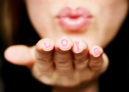 creative, cute, fingers, hand, heart, kiss, letters, lips, love, nails, photography, sweet