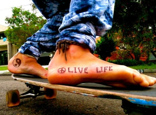 cute, feet, fun, girl, jeans, life, live, live life, love, peace, photografy, skateboard, summer, tattoo, tattoos, toes, yang, yin