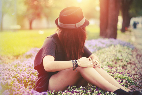 flowers, girl, grass, happiness, hat, park, spring, summer, sun, sunshine