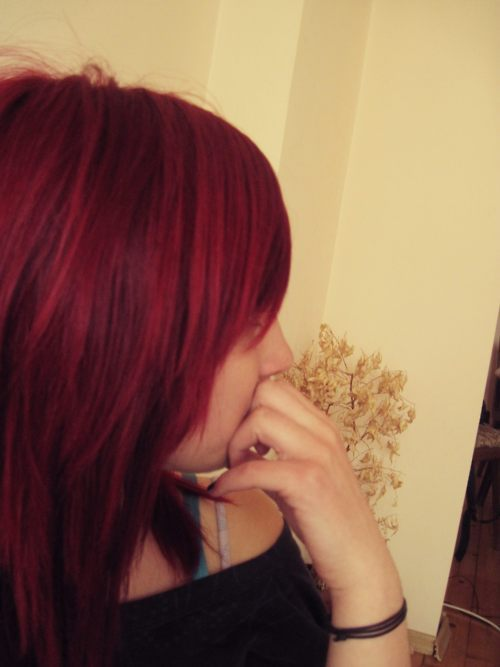 girl, hair, red, separate with comma