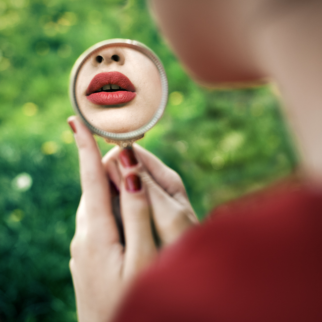 girl, mirror, nuitt, red lips, sexy