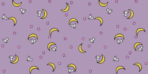 moons, pink, purple, rabbits, sailor moon, stars