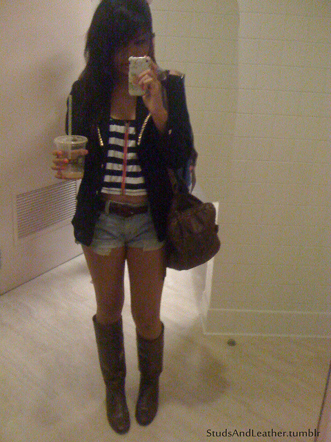 addict coffee, blazer, boots, coffee, crop top
