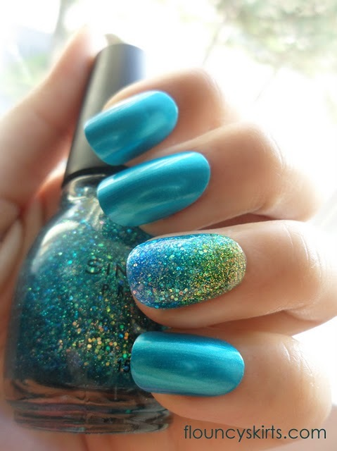 aqua, asian, blue, glitter, gold, gradient, gradient nails, hand, lady gaga, mermaid, mermaid manicure, mermaid nails, nail art, nail polish, photoshop, pretty, rainbow, shiny, sparkles, sparkly, teal