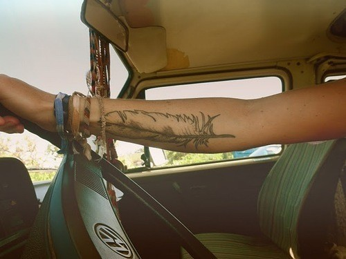 arm, bands, boho, car, drive, driving, fashion, feather, forearm, hippie, hipster, roadtrip, summer, tatoo, tattoo, vintage