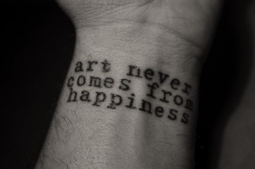 art, chuck palahniuk, hand, happiness, tattoo, text