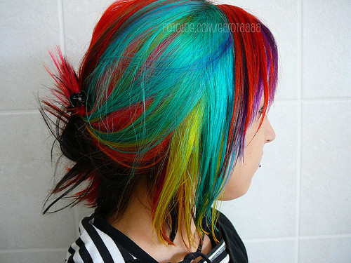 awesome, bright, colorful, dyed, dyed hair, girl, hair, rainbow hair