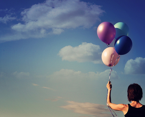 ballons, balloon, balloons, brunette, dreams, fly, girl, photography, separate with comma, sky