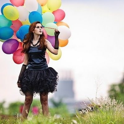 balloons, black, colorful, dress, fashion