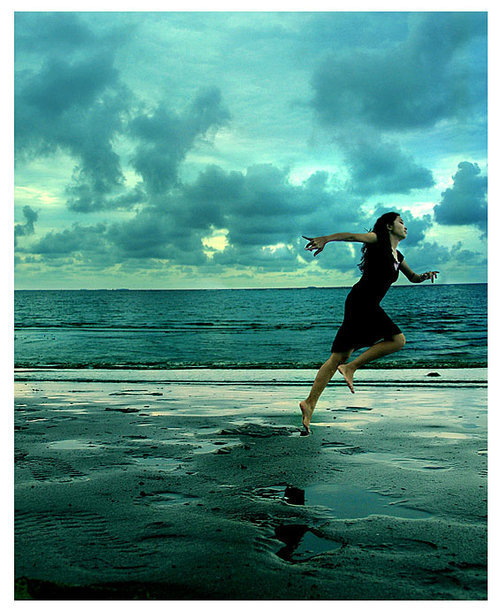 beach, bluex, clouds, girl, light, runaway, running, sand, sky, water
