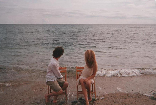 beach, boy, chair, couple, girl