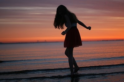 beach, fashion, girl, light, pretty, shadow, sunset, sunshine