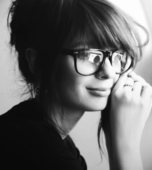 beautiful, black and white, glasses, portrait, woman