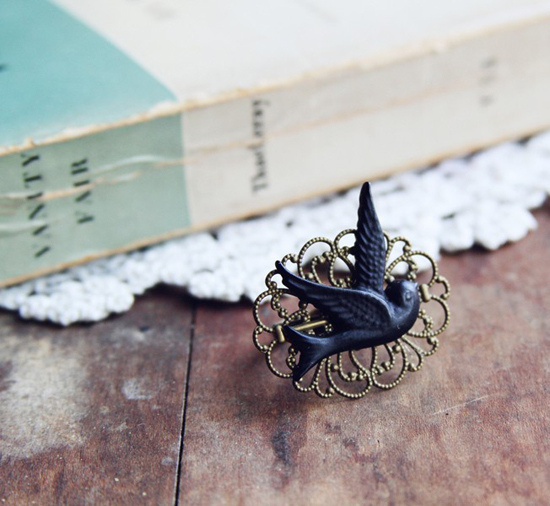 bird, book, pin, vintage