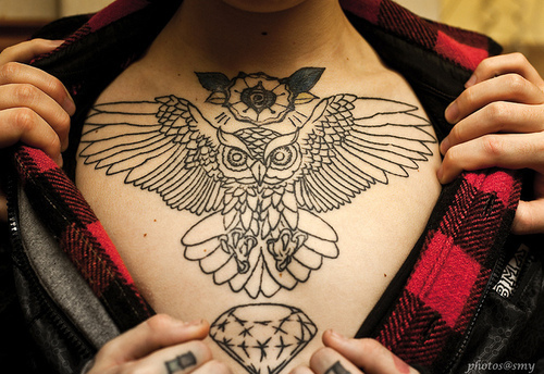 bird tattoo, boy, chest, chest tattoo, diamond