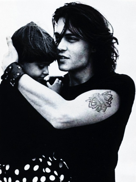 black and white, children, cute, embrace, johnny depp