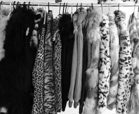 Black and white clothes store