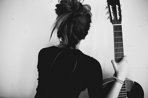 black and white, girl, guitar, high bun, messy bun